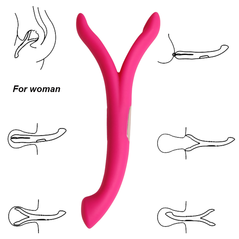 Silicone Y Shape  Dual G-spot Vibrators For Women Sex Toys ,8 And 8 Modes G Spot Massager Vibrator For Couple .sex Shop For Adul