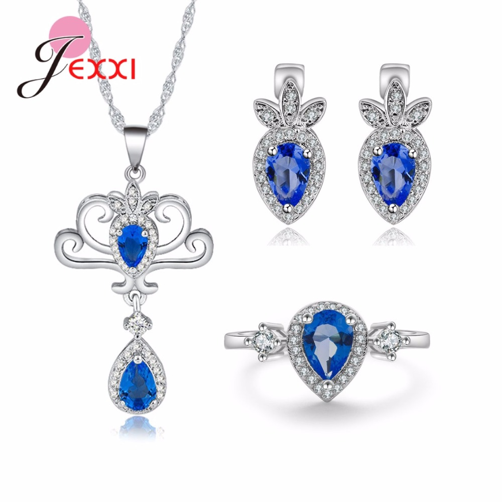 Jemmin Vintage Graceful European Style Necklace With Water Drop Shape Pendant S90 Silver Color Jewelry Sets For FemaleJemmin Vintage Graceful European Style Necklace With Water Drop Shape Pendant S90 Silver Color Jewelry Sets For Female