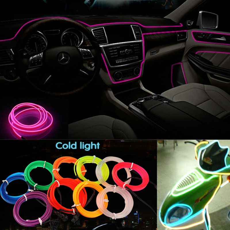 2M/3M/5M 8 Colors Car Styling DIY EL Cold Line Flexible Neon Interior Decoration Moulding Trim Strips Light For Motorcycle cars blue 1m flexible moulding el neon glow lighting rope strip with fin for car decoration