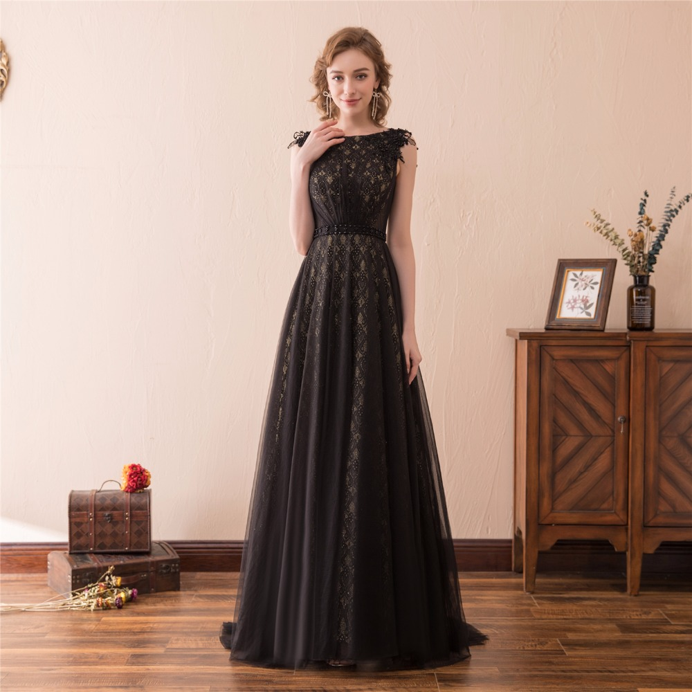 Black Evening Dresses 2018 A-line Tulle Lace Pearls Formal Women ...