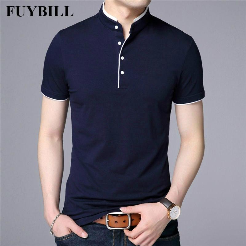 FuyBill 2019 Spring Summer New Style Mandarin Collar Short Sleeve Tee   Shirt   Men Top Men Brand Clothing Slim Fit Cotton   T  -  Shirts