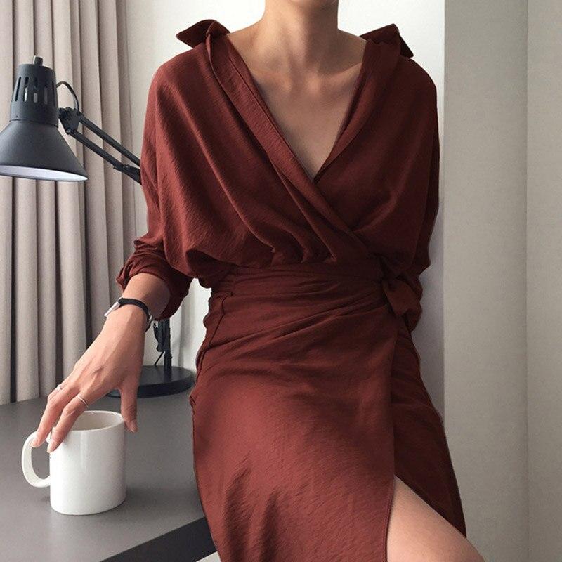 1349960e7266f US $13.35 |2018 Spring Summer Khaki Beige Sexy Vintage Cotton And Linen  Shirt Dress V Neck Long Sleeve Belted Dress Elegant Work Long Dress-in  Dresses ...