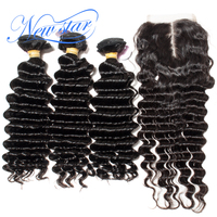 Deep Wave 3 Bundles Weft With A Middle Part Lace Closure Brazilian Virgin Thick Human Hair