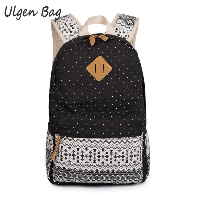 79e83057066e Korean Canvas Printing Backpack Women School Bags for Teenagers Girls Cute  Bookbags Vintage Laptop Backpacks Female Daypacks