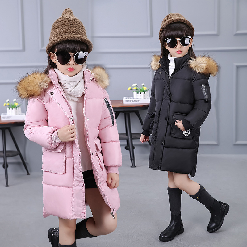 2017 Long Winter Coat Thickening of Children Warm Girls Hooded Jacket Girl Warm Fur Collar Coats Cotton Padded Jacket Overcoat children winter coats jacket baby boys warm outerwear thickening outdoors kids snow proof coat parkas cotton padded clothes