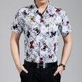 Высокое качество мужской летней мода бабочка печать с коротким рукавом цветы хлопчатобумажную рубашку