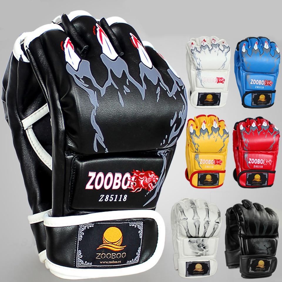 Zooboo Боксёрские перчатки высокое качество искусственная кожа Санда Муай Тай MMA половина борьба Боксёрские перчатки конкурс тренировочные п...