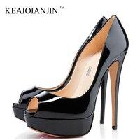KEAIQIANJIN Woman Sandalia Feminina Pole Dance Plus Size 33 43 Party Wedding Peep Toe Pumps Sexy 12 CM Fetish High Heels Shoes