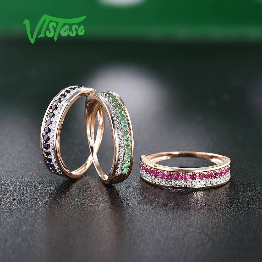 Image 5 - VISTOSO 14K Rose Gold Rings For Lady Genuine Shiny Diamond Fancy Ruby Sapphire Emerald Engagement Anniversary Chic Fine Jewelry-in Rings from Jewelry & Accessories