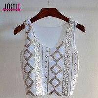 Jastie O Neck Sleeveless Women Crop Tops Geometric Pattern White Sequins Short Vest Bling Bling Chic