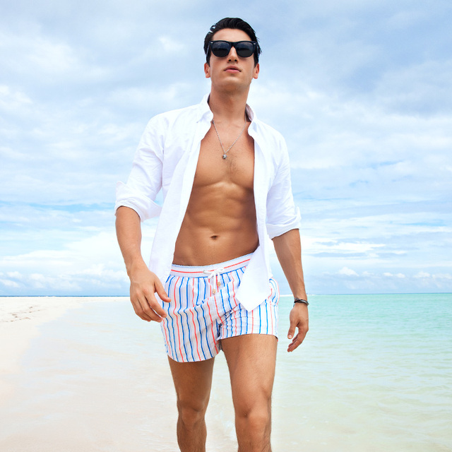 Gailang Brand Sexy Men's Beach Shorts Board Bermuda Boxer Trunks Print Men Boardshorts Swimwear Swimsuits Gay Active Wear 2017