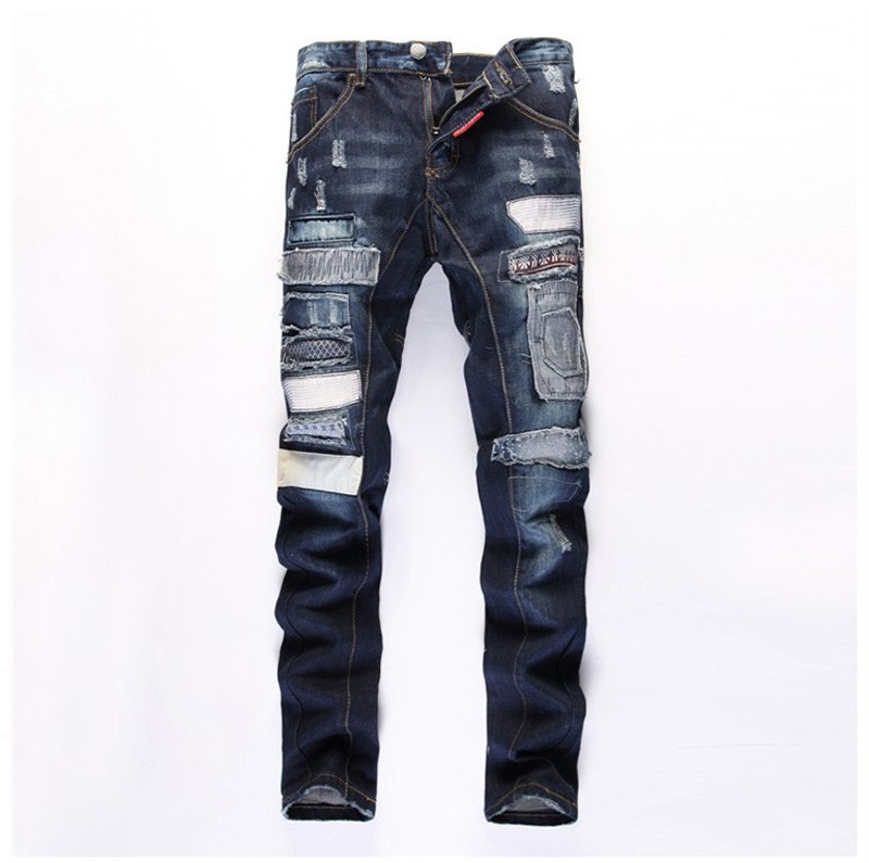 new European American Style fashion men biker jeans luxury brand blue Mens denim trousers Slim Straight Patchwork jeans for men 2017 fashion patch jeans men slim straight denim jeans ripped trousers new famous brand biker jeans logo mens zipper jeans 604