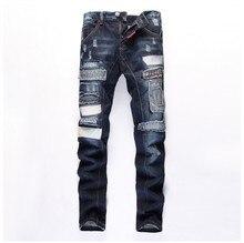 new European American Style fashion men biker jeans luxury brand blue Mens denim trousers Slim Straight Patchwork jeans for men