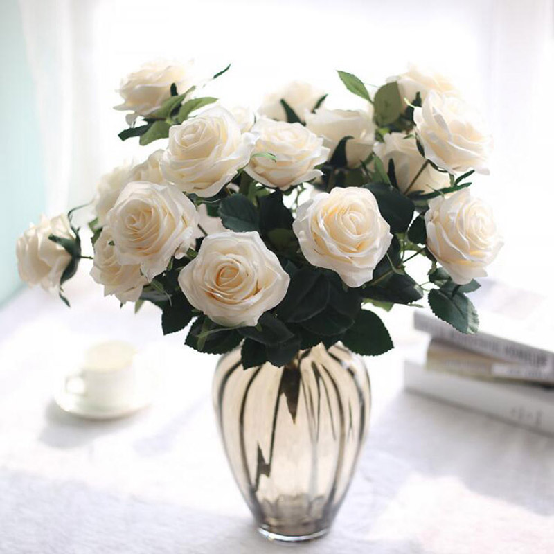 artificial silk 2 bunches rose floral bouquet 10 heads fake flower arrange table daisy wedding home - Silk Arrangements For Home Decor 2