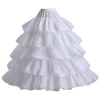 4 Pełne Kości Hoop Bridal Krynolina Kiecka Spódnica Slip Ruffles Biały