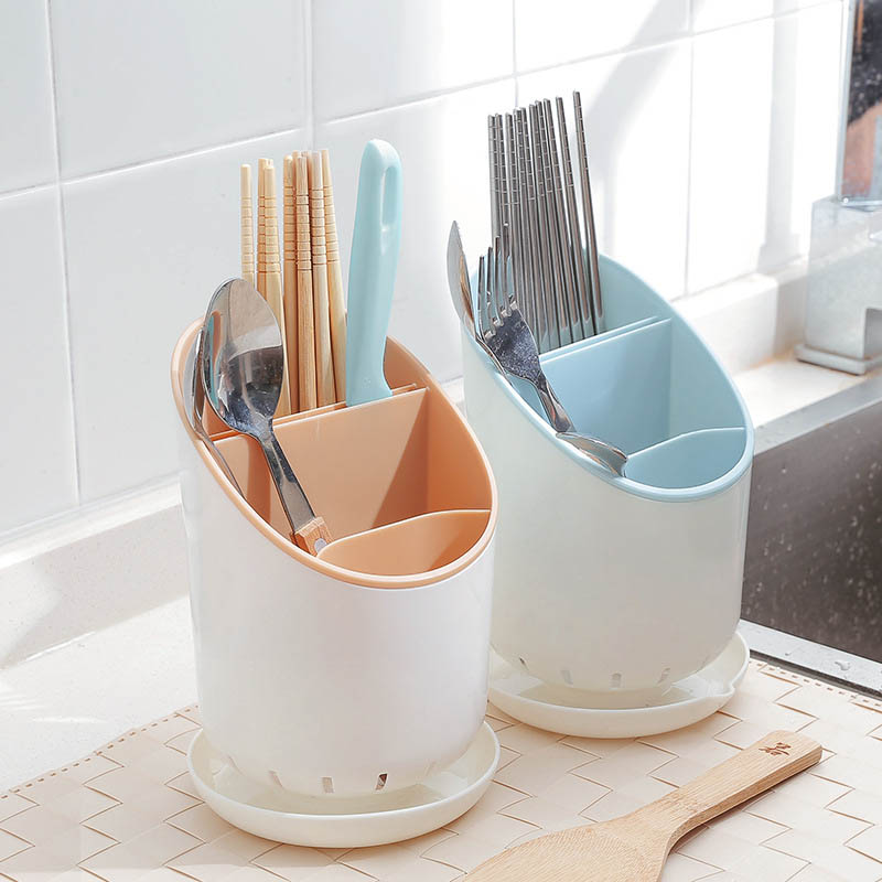 Creative Multifunctional Drain Chopsticks Storage Box Kitchen Cylinder Drying Toothbrush Holder Desktop Trash Cans