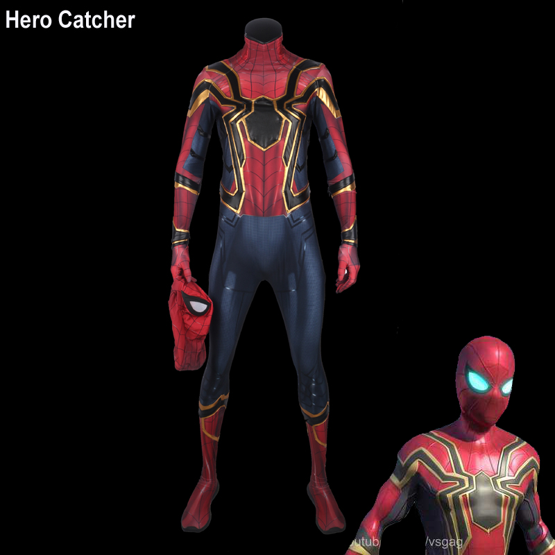 Hero Catcher-4 High Quality Newest Homecoming Iron Spider Cosplay Costume Avengers Spiderman Fullbody Suit With Details New