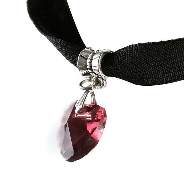 Gothic Handmade Heart Crystal Choker 2pcs