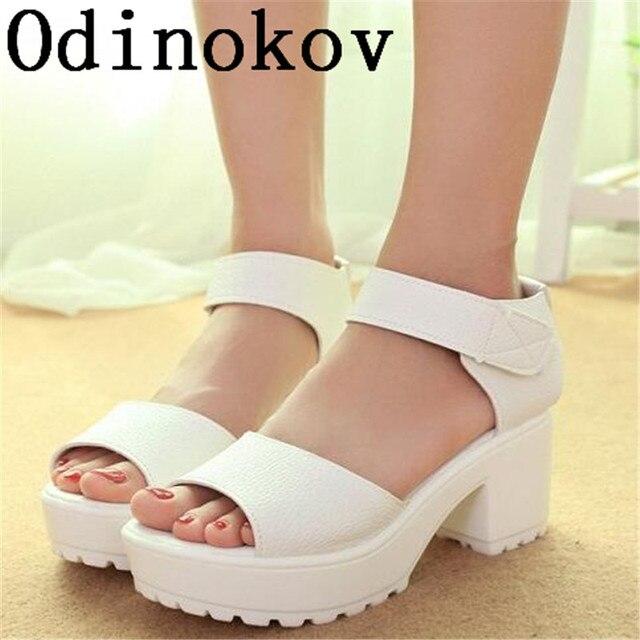 761e1295e0982 Moda kobiety letnie buty biały czarny platformy miękkie PU sandały damskie  buty na wysokim obcasie sandały