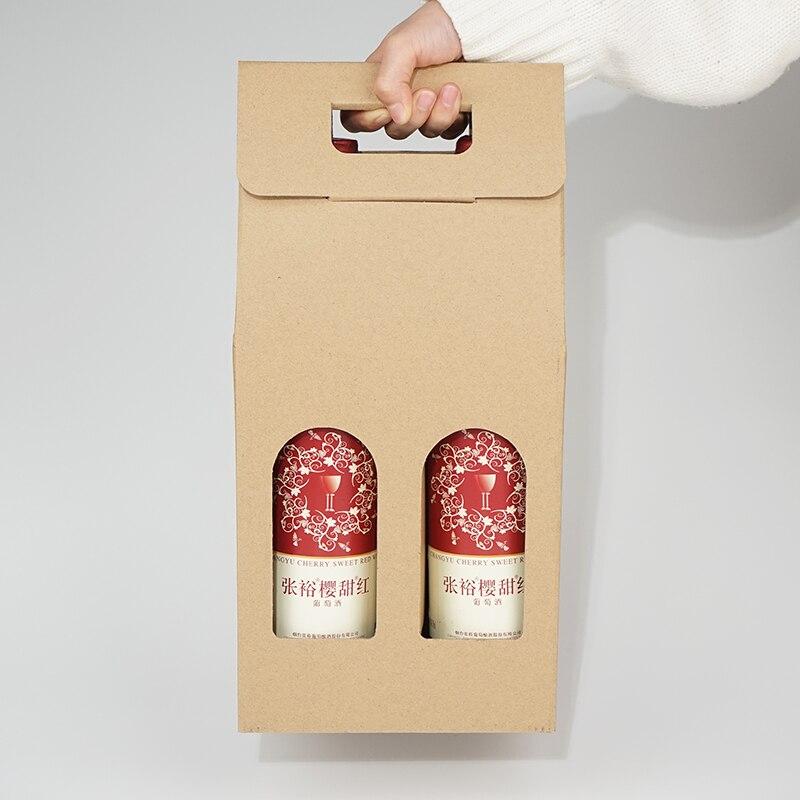 2018 nouveaux sacs d'emballage créatifs boîte-cadeau en papier avec ficelle pour huile de vin rouge champagne porte-bouteille porte-cadeau emballage de vin