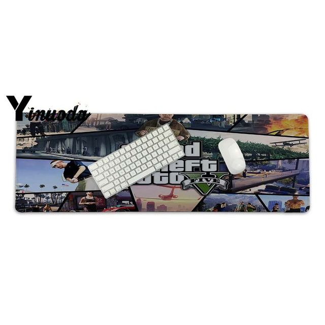 Yinuoda Simple Design Grand Theft Auto 5 Keyboard Gaming MousePads Size for 300*700*2mm and 300*900*2mm Game Mousepad