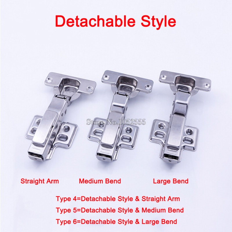 Hot 4PCS Stainless Steel Soft Close Concealed Kitchen Cabinet Hinge Copper Buffer Hydraulic Furniture Cupboard Hinges Detachable probrico 1 pcs soft close kitchen cabinet corner folded hinge 165 degree chwh04ha concealed combination cupboard door hinge
