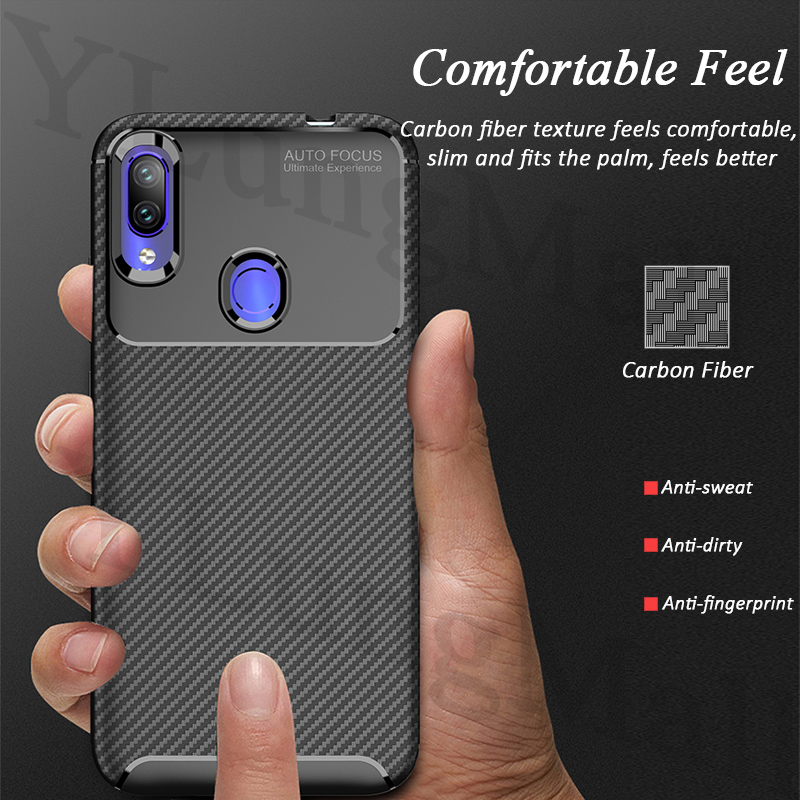 Soft Carbon Fiber Case for funda Xiaomi Redmi Note 7 Case Redmi Note 5 6 7A 6A Plus K20 Pro Y3 GO Phone Cases Back Cover Coque in Fitted Cases from Cellphones Telecommunications