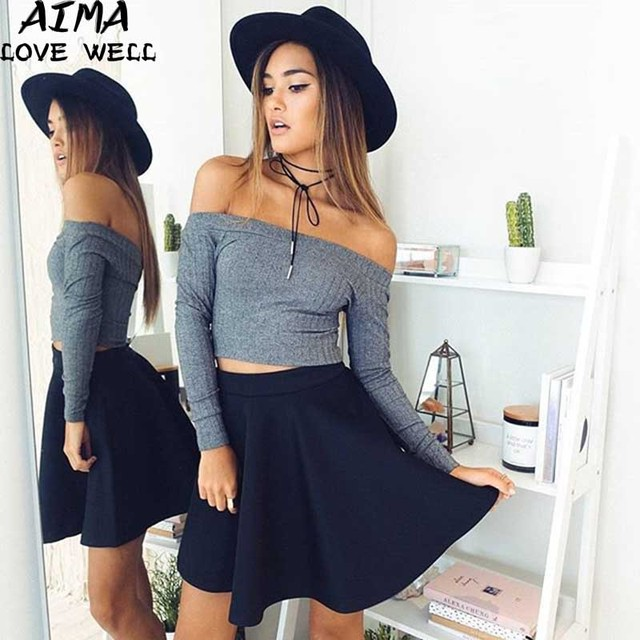 Autumn Women Sweater female Slit Neckline Long Slash Neck Off Shoulder Loose Long Sleeve Sexy Coarse Lines Knitted Pullovers