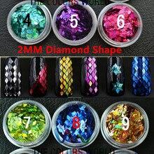 Очень Популярные голографические цветные блестки пайетки в форме бриллианта для дизайна ногтей