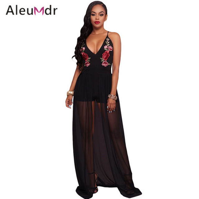 fa51f4a27e41 Aleumdr Summmer 2017 Elegant Floral Embroidery Women Jumpsuit Black Bodycon  Romper With Maxi Mesh LC64251 Combinaison Femme