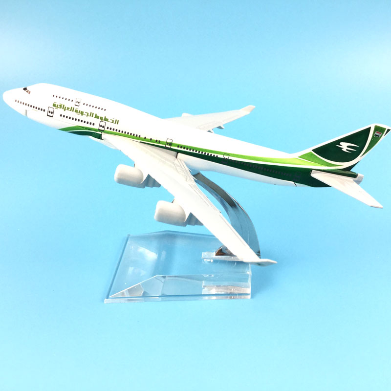 16CM  IRAQI AIRWAYS METAL ALLOY Boeing 747 1/400 Scale Diecast Airplane Aircraft Alloy Model Kids Toys Collections Gifts