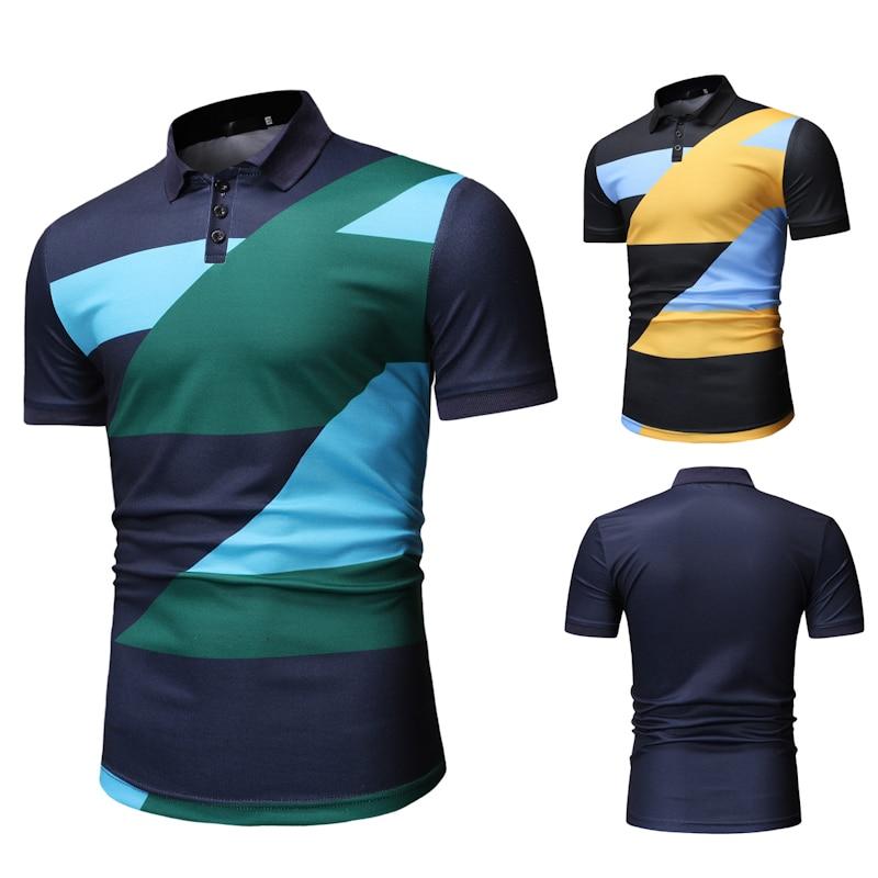 POLO   Shirt 2019 New Fashion Trend Matching Color Men's Leisure Fashion   POLO   Shirt