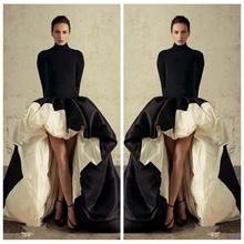 2019 najnowszy wysoki niski Celebrity sukienki na szyję Satin Sexy Prom suknie balowe piętro długość Hi-Lo tanie strój wieczorowy tanie tanio REGULAR Satyna Suknia balowa Octan Ruched Pełna simple Crockoonboo Wysoka Długość podłogi