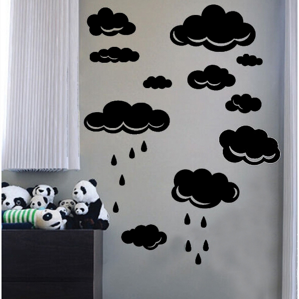pattern of large clouds pvc waterproof and removable wall stickers