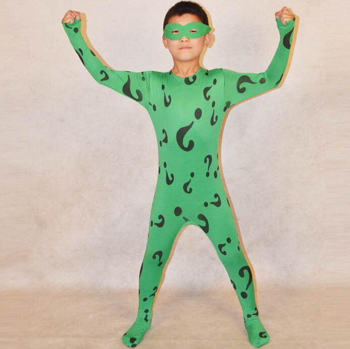 Custom Made Green Kids Lycra Full Body Zentai Suit Halloween Question Mark Pattern Spancex Cosplay Bodysuit
