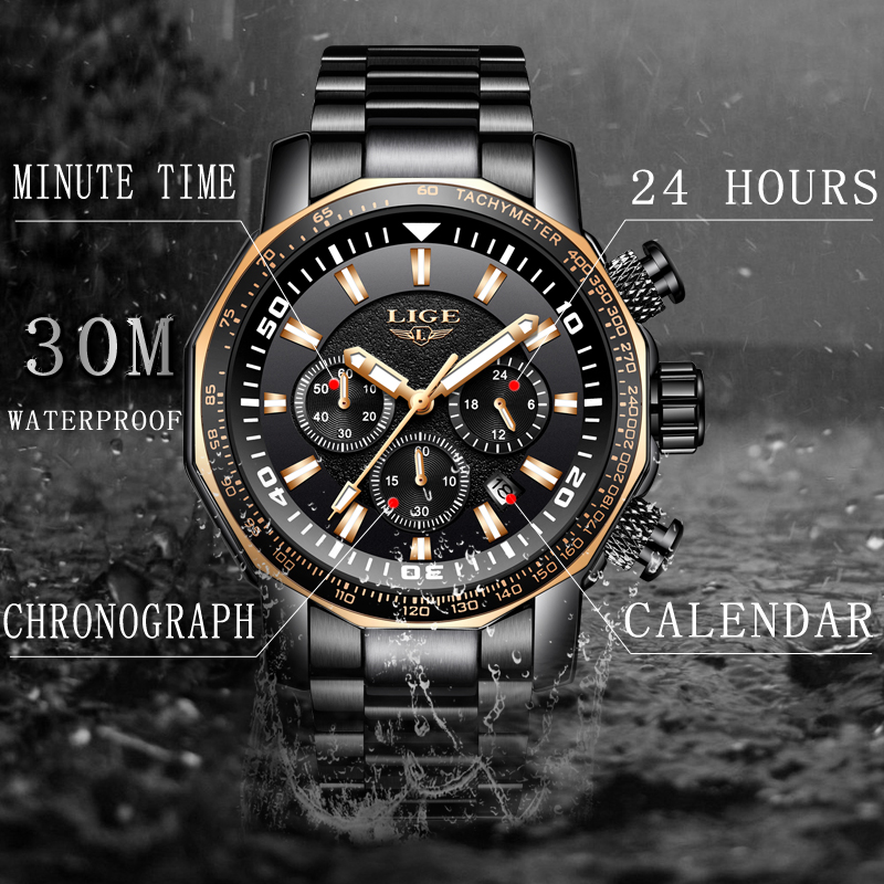 Relogio Masculino 2019 LIGE Men Watch Top Brand Luxury Business Watch Men Sport Watches Stainless Steel Large Dial Chronograph in Quartz Watches from Watches