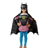 Batman Girls Boys Kids Cosplay Costume Halloween Clothes Cloak Mask Armour Cuff Protect New Free Shipping