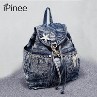 IPinee Hot Sale Mochila Feminina Women S Bags Denim Teenage Girls Vintage Travel Bag Shoulder Bags