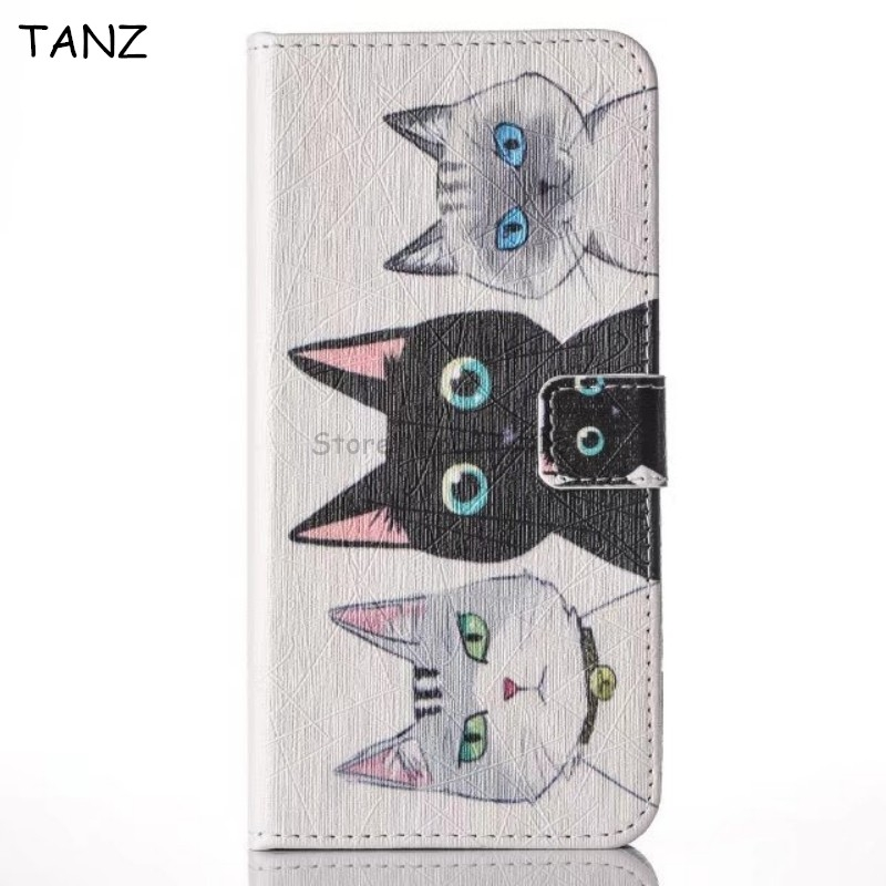 TANZ Cute Cartoon Cat Wallet Flip PU Leather Phone Cover Case For iphone X 8 7 plus For Samsung Galaxy S8 S8plus J3 A3 A5 Note8