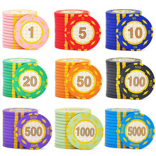 INSTOCK 10 Pieces/Lot Poker Chips Clay/Iron/ABS Casino Chips Texas Hold'em Poker Wholesale Wheat Crowne Poker Chips