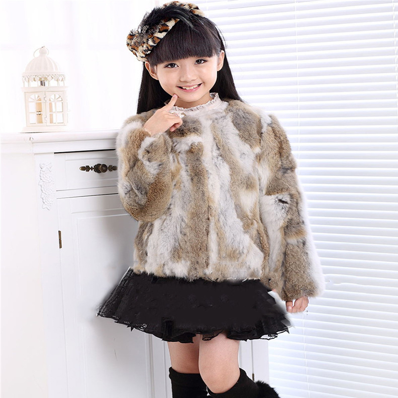 ФОТО New Real Children's Rabbit Fur Coat  Girls Autumn Winter Fur Warm Thick Coats Short Solid Parchwork Outwear Coat Jackets C#18