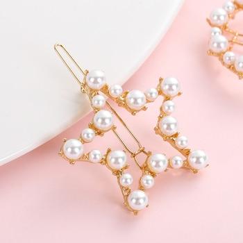 Popular Korea Fashion Initiation Pearl Hair Clip Snap Barrettes 3