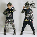 2016 Autumn Winter Children's Clothing Set Costumes Kids Sport Suits Army Camouflage Patchwork Hip Hop Street Dancing Costumes