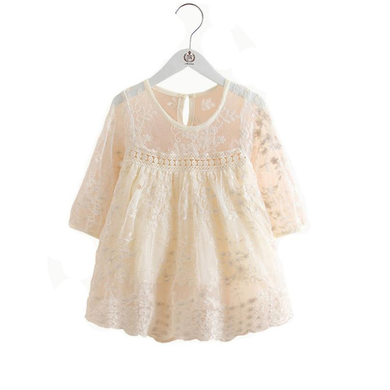 Spring Kids Dresses For Girls Soild Lace Embroidery Princess Dress Children Clothes Little Girls Party Wear Kids Costumes 2 8Yrs in Dresses from Mother Kids