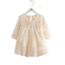 Spring Kids Dresses For Girls Soild Lace Embroidery Princess Dress Children Clothes Little Party Wear Costumes 2-8Yrs