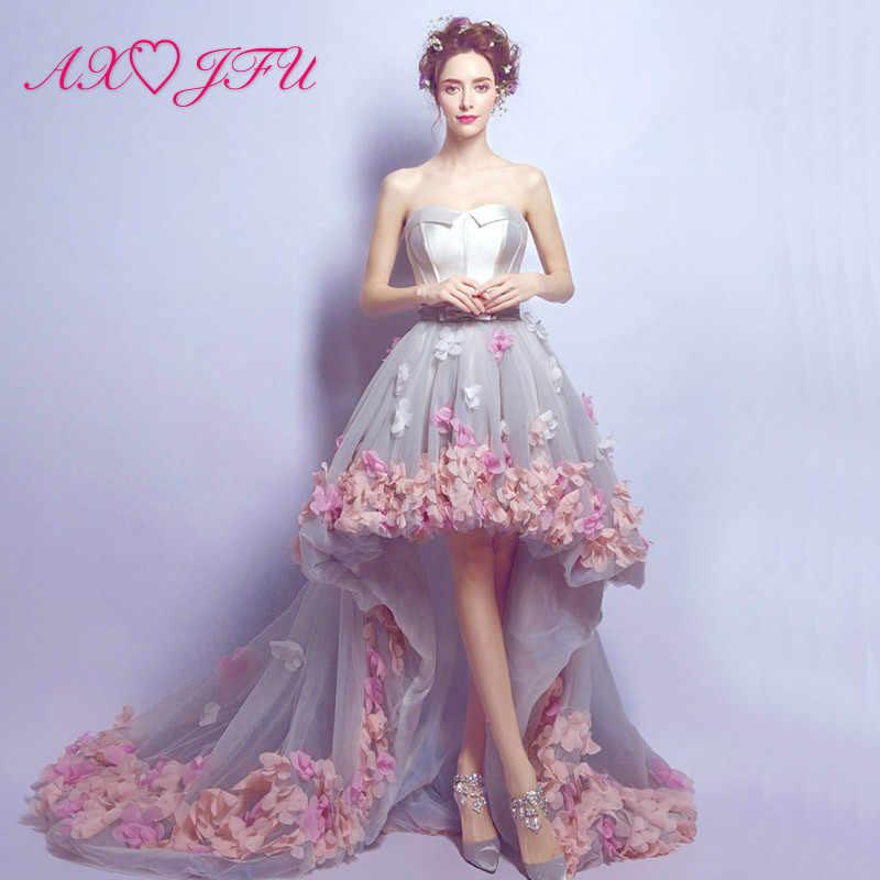 bbe0e818dc5 AXJFU до длинных и коротких корейских розовый цветок принцесса со шлейфом  роскошное вечернее платье цветок кружева