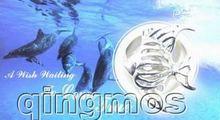 Популярный подарок в одной коробке кулон виде рыбы ожерелье