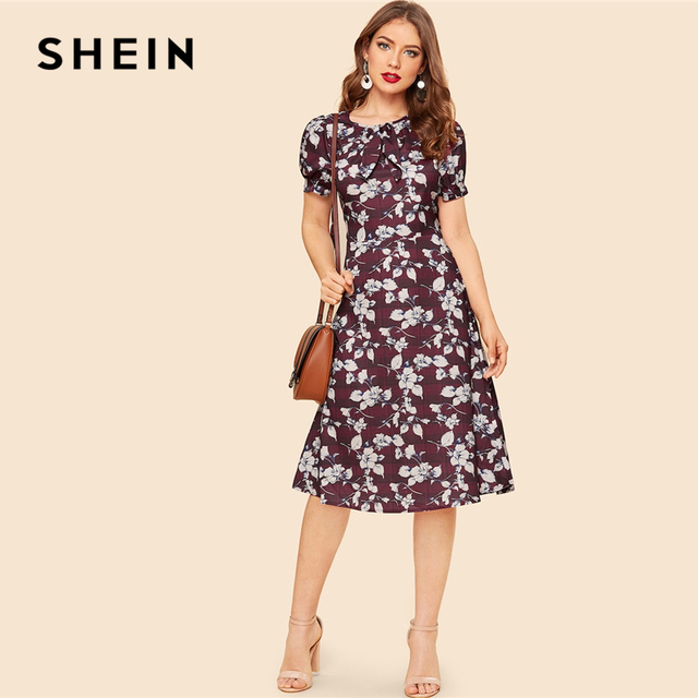 f08ff6352dac SHEIN Vintage Maroon Bow Neck Tie Waist Floral And Plaid Midi Dress Women  2019 Summer Elegant A Line Puff Sleeve Dress
