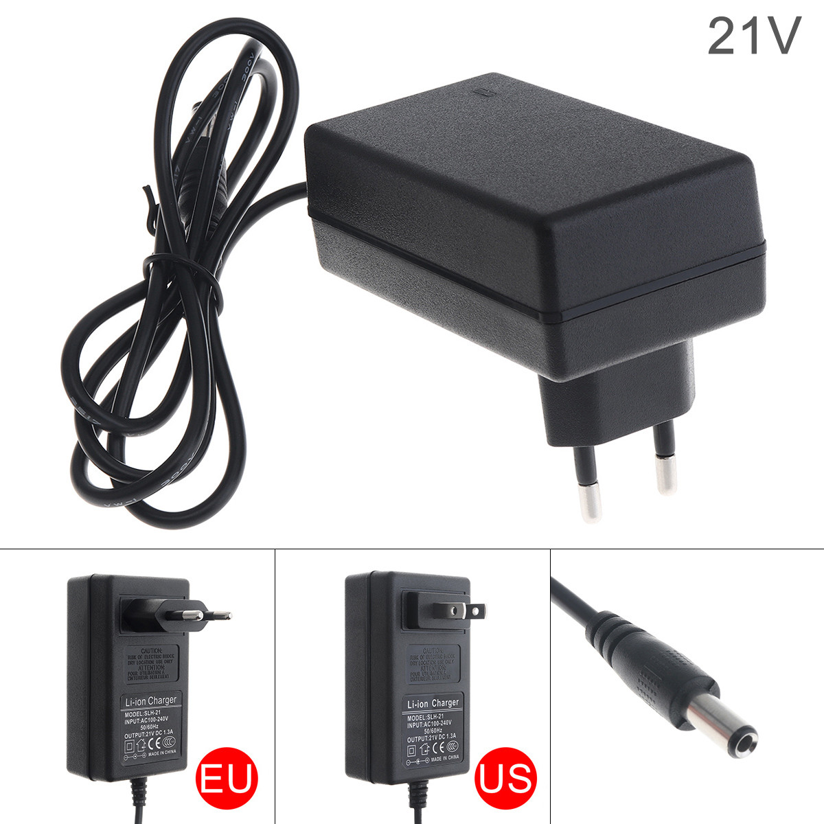 90cm 21V Lithium Battery Electric Drill Power Adapter Charger With EU Plug And US Plug For Electric Screwdriver Wrench