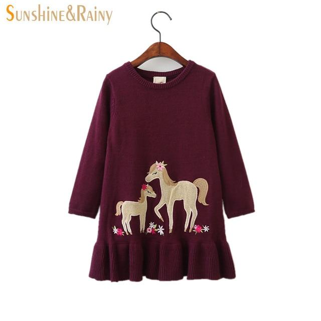 cc3fd9375b4b Sunshine & Rainy Autumn Winter Kids Knitted Dresses For Girls Pony Flower  Embroidery Princess Baby Girl